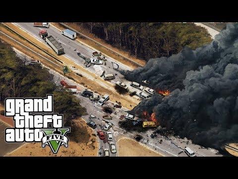 Самая масштабная авария на дороге в гта 5! Разбились машины реальная жизнь обзор модов Gta 5