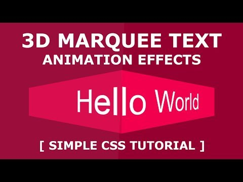 Pure CSS 3D Marquee Text Animation Effects - Simple Html CSS Tutorial