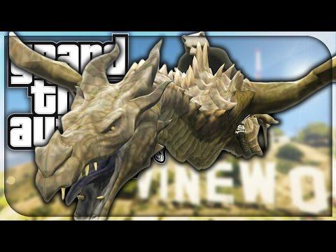 GTA 5 Skyrim Dragon Mod Funtage: RIDING DRAGONS IN GTA!! (GTA 5 Modded Funny Moments)