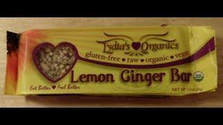 Raw Vegan Product Review: Lydia's Organics Lemon Ginger Bar