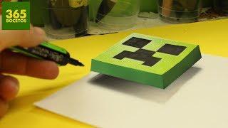 ILUSIONES OPTICAS - CREEPER EN 3D - DIBUJOS SORPRENDENTES