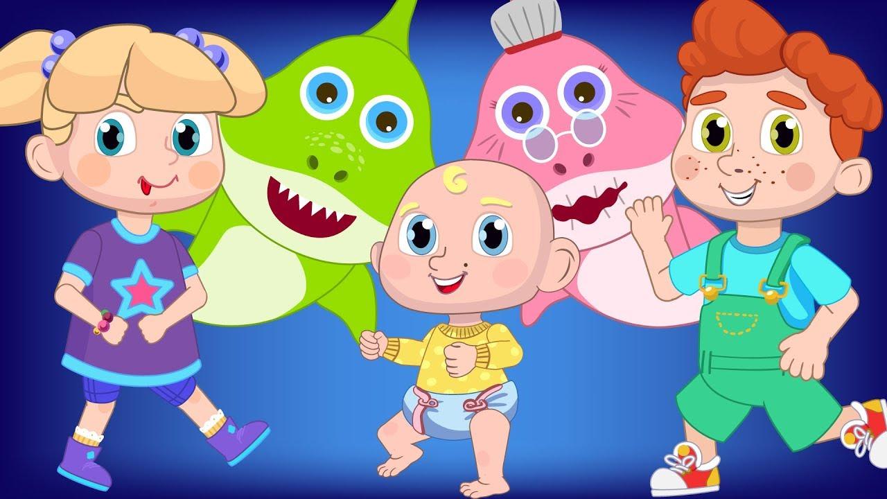Baby Shark Dance Challenge with Children Nursery Rhymes ...