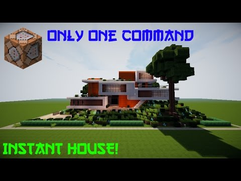 MinecraftMODERN HOUSE IN ONE COMMAND YouTube - Minecraft haus bauen command