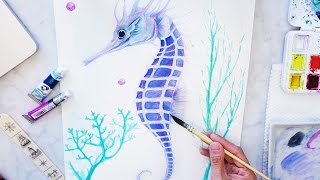 「Watercolor Seahorse Painting with Seaweed and Coral」Paint a Seahorse 透明水彩 手繪 畫海馬 Easy Drawing