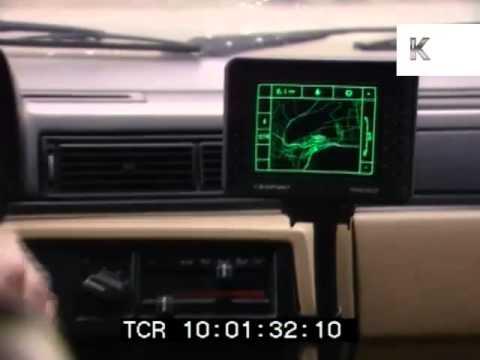 Early 1990s Sat Nav, Car Satellite Navigation, Like Tom Tom, Archive Footage