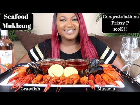 SEAFOOD BOIL MUKBANG , CRAWFISH , MUSSELS , THE  JUICY CRAB SAUCE , BLOVES SAUCE