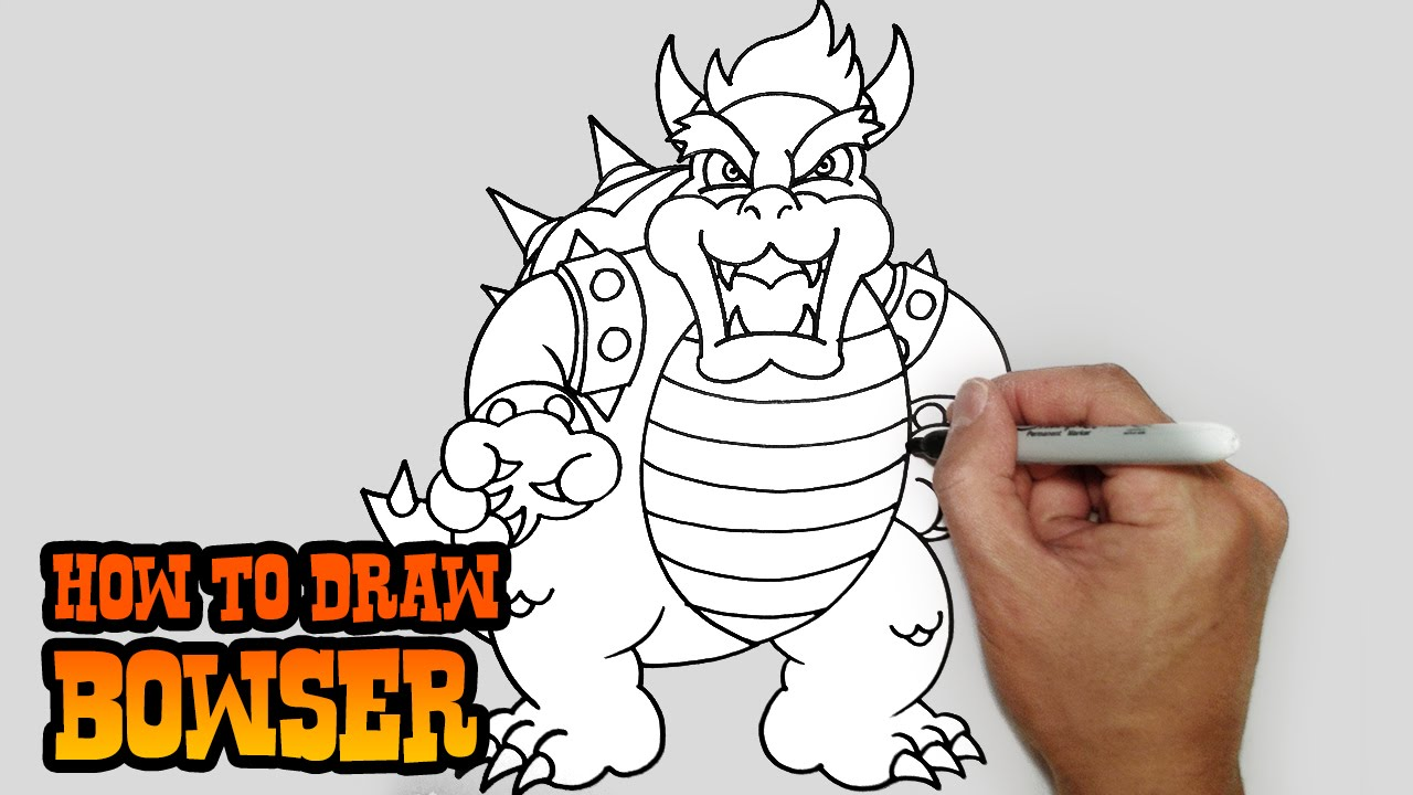 How To Draw Bowser Super Mario Bros Video Lesson Youtube