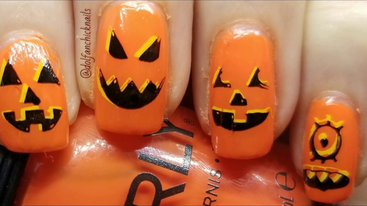 Halloween Jack o Lantern Nails - YouTube