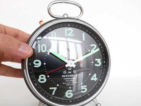 WEHRLE COMMANDER Repeat Alarm TOP! Clock Black Dial GERMANY Vintage Mantel RARE!