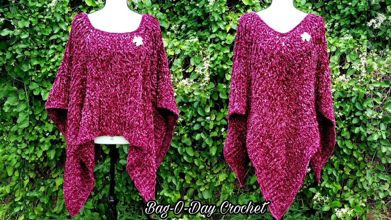 How To Crochet A Blanket Poncho Crushed Velvet Bag O