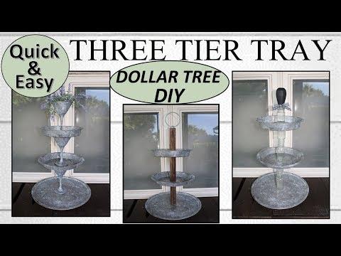 TIERED TRAY DIY | Dollar Tree DIY | Farmhouse Tiered Tray (2019)