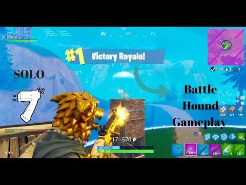 New Fortnite Battle Hound Skin Gameplay- Solo Battle Royal Gameplay