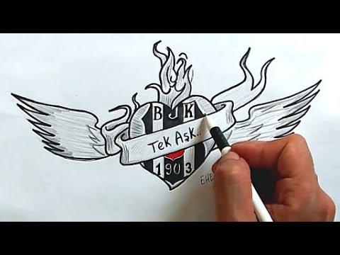 Beşiktaş Vodafone - Besiktas logosu nasil cizilir(Ehedov Elnur) How to draw Besiktas J.K Logo