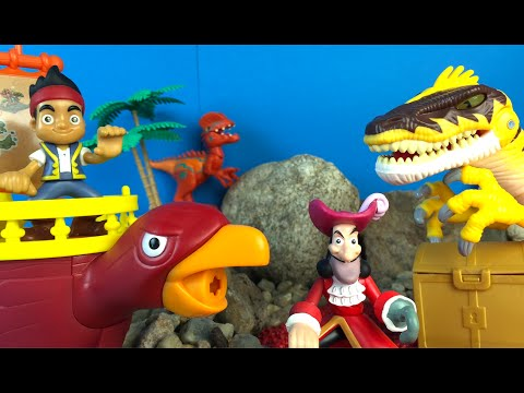 Jake & the Neverland Pirates Hunt for Treasure on Jurassic World Island - Hook Tick Tock Crock