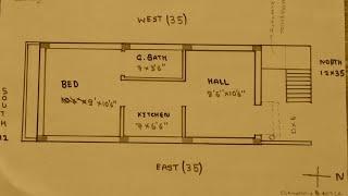 12 × 35 North face house plan map naksha