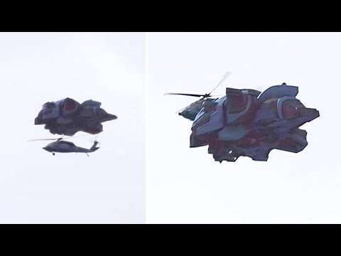 Someone Just Captured A Massive Transformer Like Object Flying Close To This Helicopter
