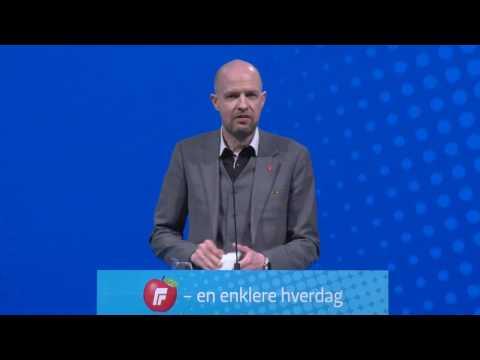 Frank Willy Djuvik tale lørdag FRP´s Landsmøte 2017