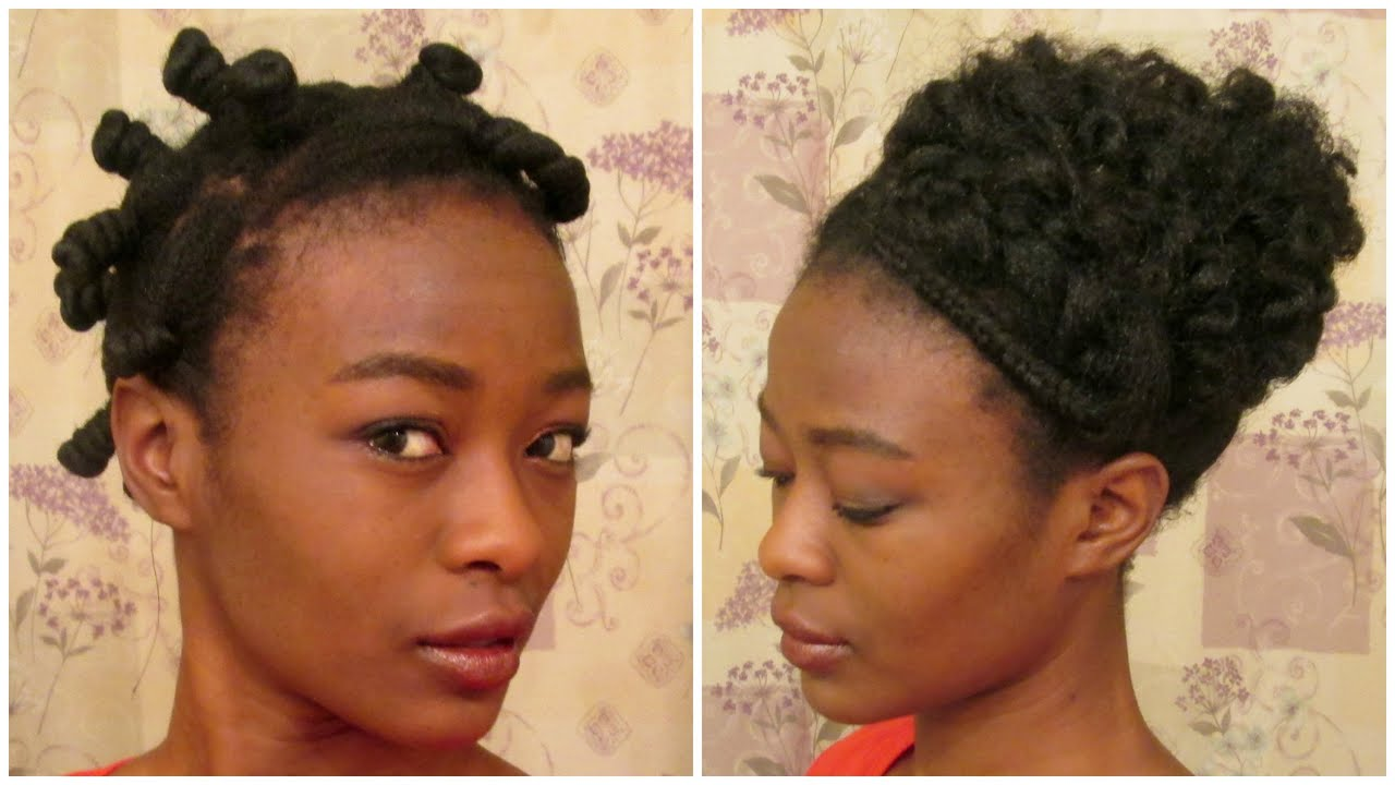 Zipper Braid And Bantu Knot Updo In 4bc Natural Hair Youtube