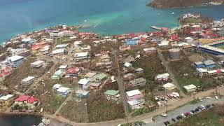 9/10/17 Aerial Footage Cruz Bay Area, St John USVI after Hurricane Irma
