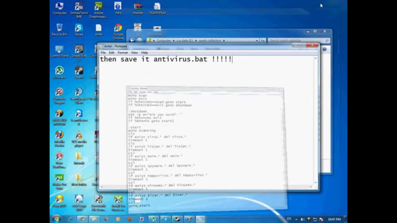 how to create an antivirus using notepad