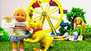 Барби и Штеффи нашли собаку! Кто хозяин? Мультики для детей - Играем в куклы
