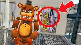 WITHERED FREDDY BREAKS THE ANIMATRONICS OUT OF PRISON! (GTA 5 Mods For Kids FNAF Funny Moments)