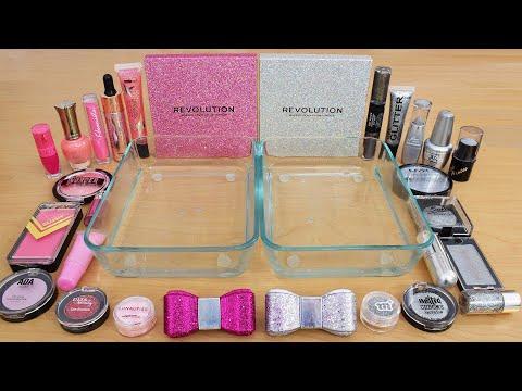 Pink vs Silver - Mixing Makeup Eyeshadow Into Slime Special Series 242 Satisfying Slime Video