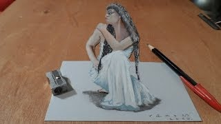 Drawing Cleopatra, 3D Trick Art, Time Lapse