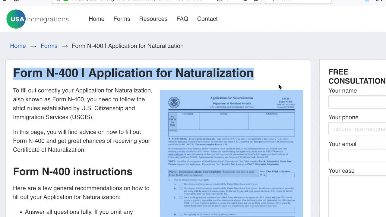 Form N-400| Application for Naturalization