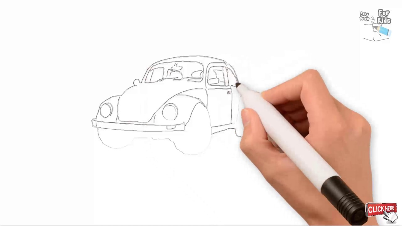 Outline Sketch Old Model Car Drawing Tutorial Easy Step By Step || Draw  Easy For Kids