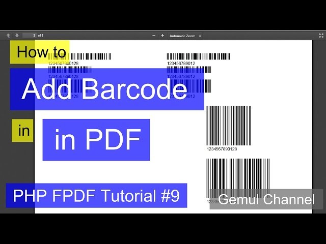 How to Add Barcode in PDF | PHP FPDF Tutorial #9 Download