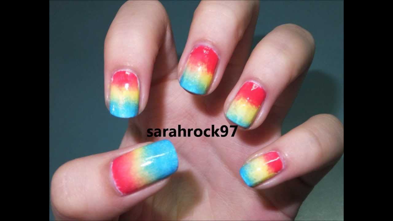 How To Do Rainbow Nails Using Sponge