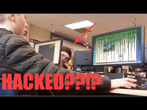 HACKING kids in the school library PRANK