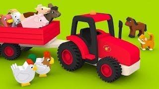Мультики про машинки Трактор на ферме Домашние животные для детей учим названия и голоса ж