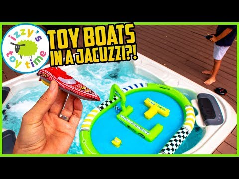 TOY BOATS IN A JACUZZI HOT TUB? Toys For Kids!
