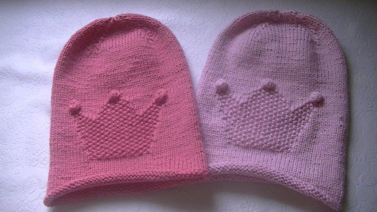 Вязание шапки бини лицевой гладью 196
