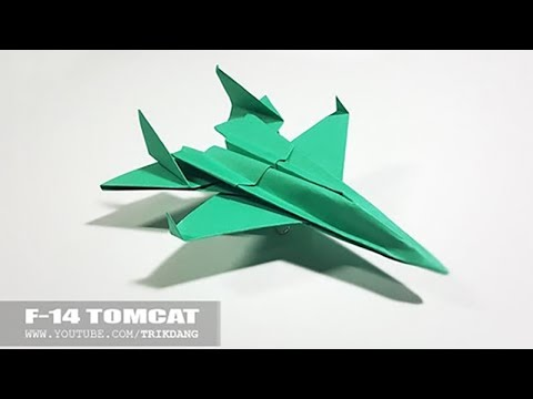 BEST ORIGAMI PAPER JET  How to make a paper airplane model  F14 Tomcat