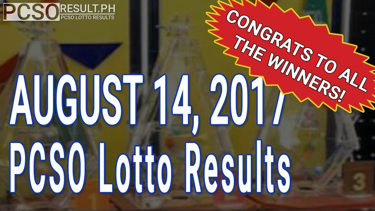 PCSO Lotto Results Today August 14, 2017 (6/55, 6/45, 4D, Swertres & EZ2) - YouTube