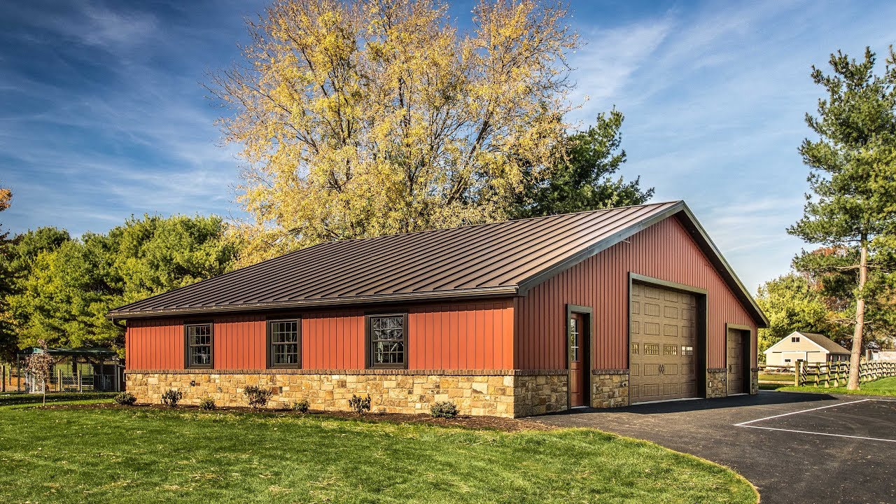 Stunning Garage With Carriage Red Celect Siding And Dark Bronze Metal Roof A B Martin