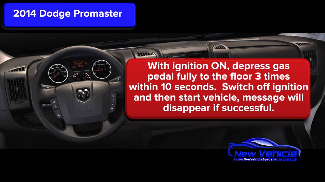 2014 Dodge Promaster Oil Light Reset Youtube