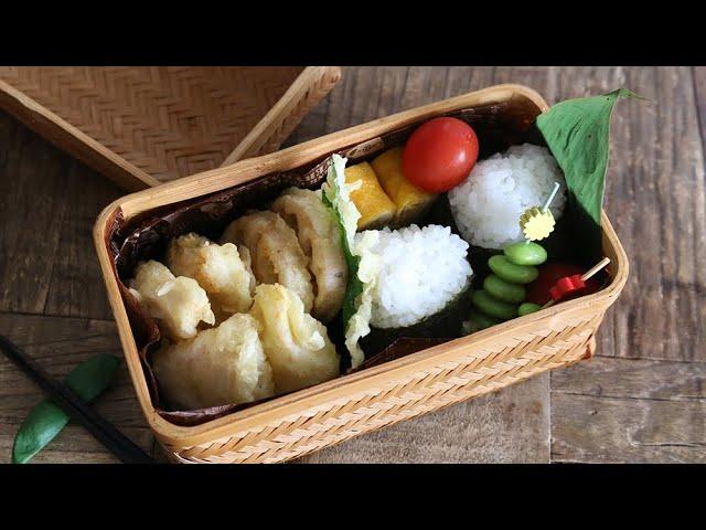 【お弁当作り】簡単3品おかずの鶏むね肉天ぷら弁当bento【旦那弁当】#541