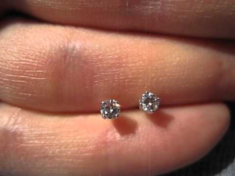 Real Diamond Stud Earrings Round Shape 14 Carat Total 14k White Gold G H Vs2mvi 7094