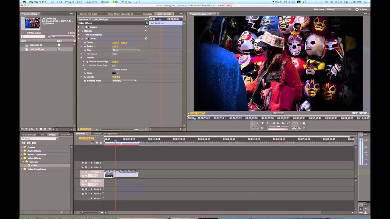 Vignette Tutorial in Adobe Premiere Pro with the Circle Effect / Video  Schol Online