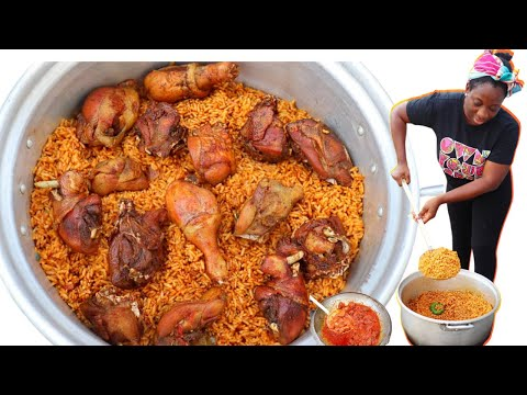 HOW TO COOK NIGERIAN PARTY JOLLOF RICE | STEP-BY-STEP | STEW & FRIED CHICKEN