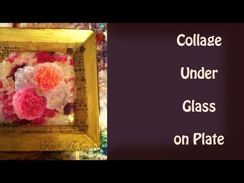 COLLAGE Decoupage On Glass Plate: Rose Flowers & Gold Paint