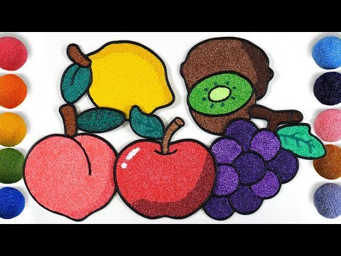 coloring-fruit-with-foam-clay-for-kids,-toddlers-|-apple,-grape,-lemon,-peach,-kiwi