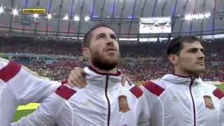 La roja Himno nacional Chile VS España mundial 2014