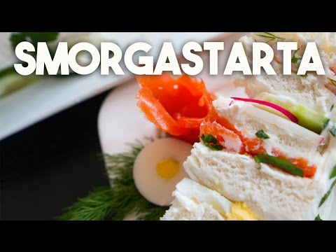 SWEDISH SANDWICH Cake - Smorgastarta - Smoked SALMON, SHRIMP & Eggs