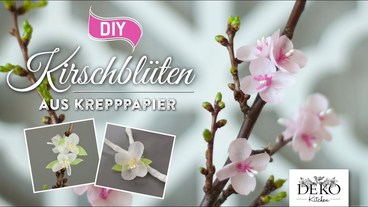 Diy papierbl ten h bsche kirschbl ten aus krepppapier deko kitchen youtube - Youtube deko kitchen ...
