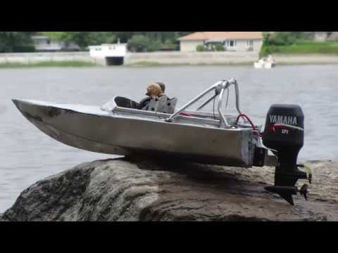 Full aluminium 1 10 scale outboard speed boat test no 2 for Rc fishing boats for sale